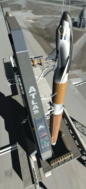 Artist's impression of the original Dream chaser vehicle atop the Atlas V launch vehicle