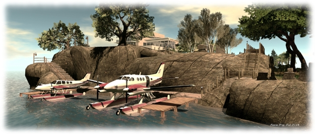 The 'planes at their new mooring below the house