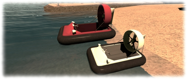 "The full-size Hovercraft (red) and the ""dinkie"" / tiny version"