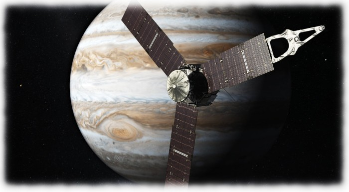 An artist's impression of Juno orbiting Jupiter (Nasa JPL)