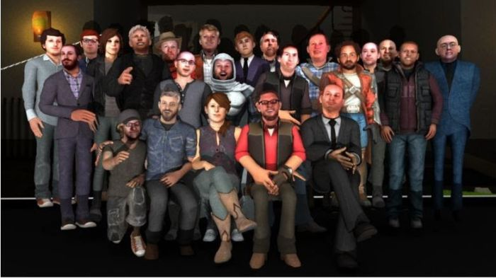 High Fidelity's staff group photo using scans of their own hair and faces (image: High Fidelity)