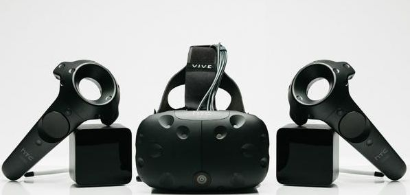 The Vive pre-order kit comprises the headset unit, two wireless hand controllers, two room sensors and a pair of ear buds (the headset includes a jack socket for those wishing to use their own headsets / ear buds
