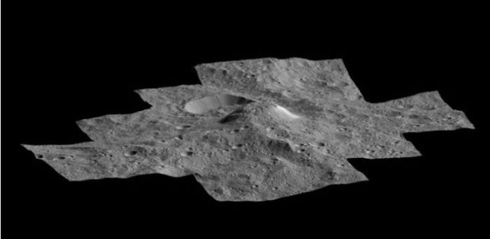 """""""Ahuna Mons"""" on Ceres perspective view"""