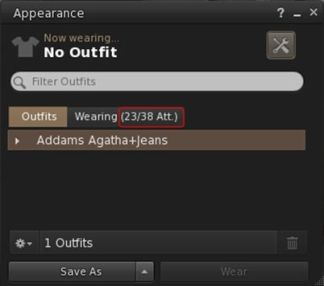 New attachment count in Avatar > Appearance > Wearing tab