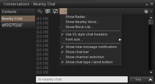 The Nearby Chat window Chat Options button and drop-down