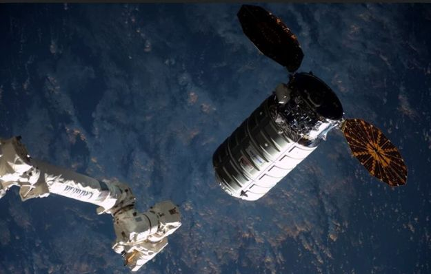 The 6 metre (20 ft) long Cygnus vehicle alongside the ISS on Saturday March 26th, 2016, as the station's robot arm prepares to grapple it