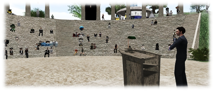 Ebbe Atlberg, through his alter ego of Ebbe Linden, addresses the VWBPE conference