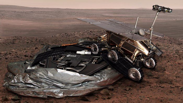Artist's impression of the ExoMars rover rolling off of its landing platform (credit: ESA)