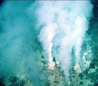 Fumeroles (hydrothermal vents) support exotic life on Earth's seabed