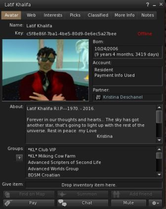 Latif's profile, March 4th, 2016, as updated by his SL partner Kr