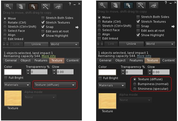 Firestorm replaces the materials drop-down selection menu (seen in version4.7.5, left) with the radio buttons for materials types (right), as also seen in the official viewer