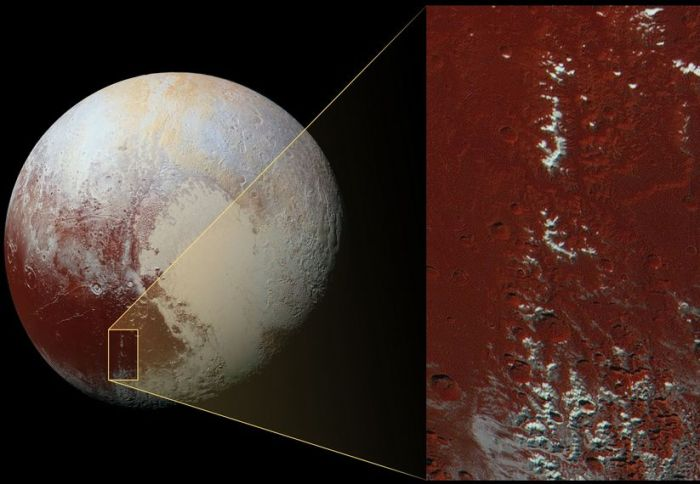 enhanced color image is about 2,230 feet (680 meters) per pixel. The image measures approximately 280 miles (450 kilometers) long by 140 miles (225 kilometers) wide. It was obtained by New Horizons at a range of approximately 21,100 miles (33,900 kilometers) from Pluto, about 45 minutes before the spacecraft's closest approach to Pluto on July 14, 2015.