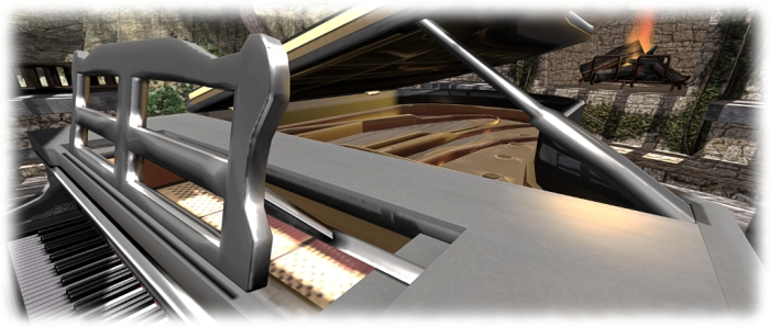 Some of the detailing, such as the top board props and music stand are a little heavy compared to the rest of the piano, probably due to the fact the entire instrument is a single mesh