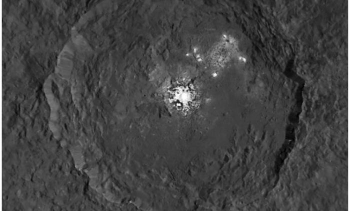 "The highest resolution image of the Occator bright spots so far returned to Earth by Dawn, taken in in September 2015, when the vehicle was in its ""mid-altitude"" mapping survey. Now orbiting much closer to Ceres, the next images of the 90 km wide Occator are expected to reveal the bright spots in considerable detail"