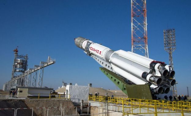 March 11th 2016: the Proton rocket with TGO and EDM on-board is hoisted to the vertical position at its launch pad in the Baikonaur Cosmodrome, Kazakhstan