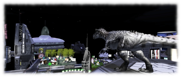 Second Life Science-Fiction Convention - a time-travelling Allosaurus pops by for a look