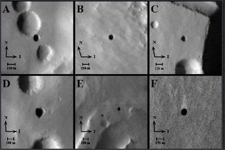 "A 2007 THEMIS image from Mars Odyssey showing entrances to possible Martian caves, dubbed the ""seven sisters."" Clockwise from upper-left: Dena, Chloe, Wendy, Annie, Abbey, Nikki and Jeanne. Arrows signify direction of solar illumination (I) and direction of North (N) - Credit: GE Cushing, TN Titus, JJ Wynne, USGS, USGS, Northern Arizona University, and PR Christensen of Arizona State University"
