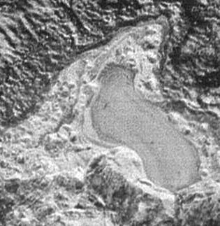 The lake of frown nitrogen on Pluto, images by the New Horizons mission during its closest approach to Pluto on July 14th, 2015. The lake is approximately 30 km (18.75 mi) in length