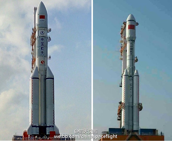 China's Long March 5 (l) and Long March 7 (r) next generation launch vehicles