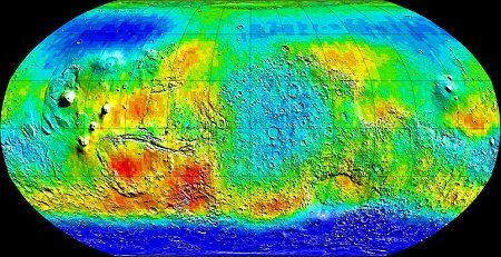 A 2001 false colour map of Mars made from data gathered by Odyssey's gamma ray spectrometer reveals the widespread distribution of hydrogen-enriched soil on Mars (in blue), the result of sub-surface ice deposits