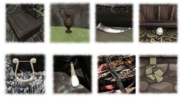 You must find eight items (top left, bottom right): a jewel chest, a flagon, a horn, a gemstone, a lyre, a phial, a quiver of arrows and some silk - but finding them also involves gathering information
