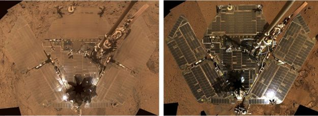 Two self portraits by Opportunity's twin on Mars, Spirit. On the left, how the rover's solar panels had accumulated dust by October 2007. On the right, how the solar arrays looked in November 2008, after a