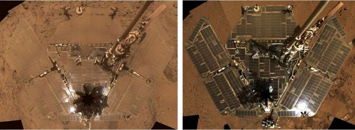 "Two self portraits by Opportunity's twin on Mars, Spirit. On the left, how the rover's solar panels had accumulated dust by October 2007. On the right, how the solar arrays looked in November 2008, after a ""spring clean"" by dust devils the rover encountered during the Martian ""spring"""