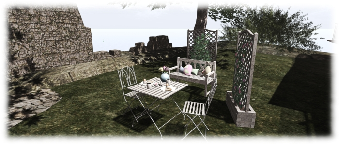 Spring 2016 gift: breakfast table and food and chairs, bench, trellises and plushies