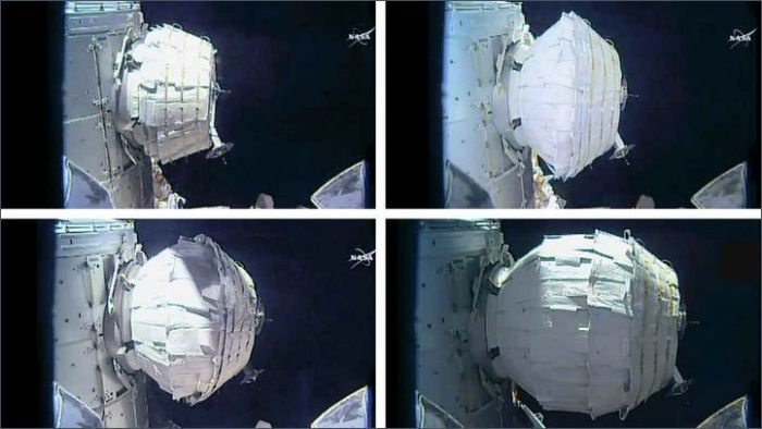 Four images showing the BEAM unit inflating as it is docked to the International Space Station. Credit: NASA