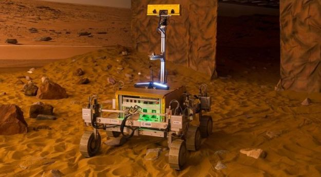 """Bridget"" the ExoMars text vehicle, undergoing tests at the ""Mars Cave"" at"