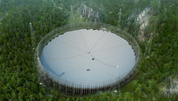 An artist's impression of the completed FAST dish, located in in Pingtang County, Guizhou Province, southwest China