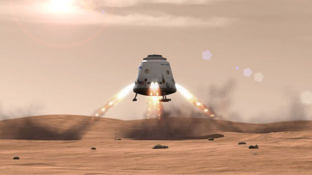 an artist's impression of Red Dragon arriving on Mars (credit: SpaceX)