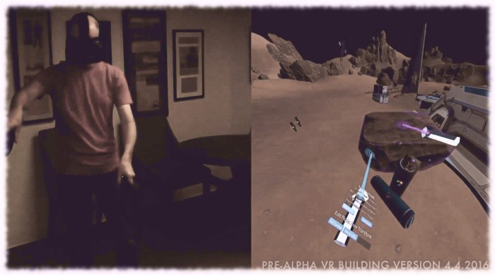 Jason manipulates assets using the HTC Vive hand controllers within Sansar's edit mode whilst building the Mars scene seen in previous Sansat promotional shots