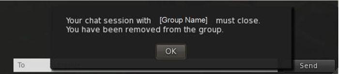 Group chat warning following a ban