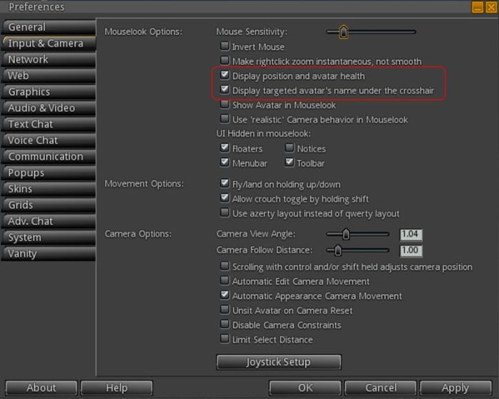 The new Mouselook options in Preferences > Input & Camera