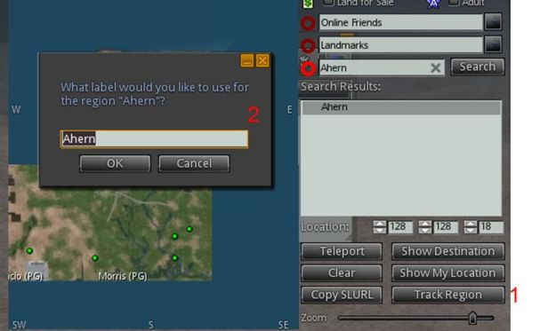 Adding a region to the Region Tracker: on the World Map, locate the region using the search option, click Track Region (1), supply a name for the region in the dialogue box (2), if required, and click OK