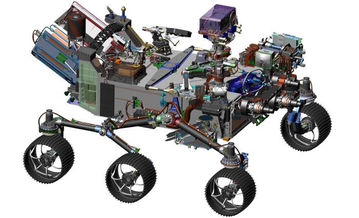 A CAD image of the Mars 2020 rover: visibly similar to MSL's Curiosity rover. Credit: NASA
