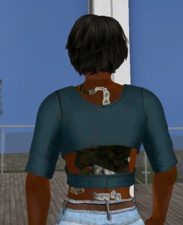 What appears to be an alpha issue on mesh skinning layers - note the transparent nature of my back around the tattoo