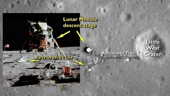 This composite of images from NASA's Lunar Reconnaissance Orbiter (LRO) mission from 2014 highlight elements of the Apollo 11 landing site on the Moon - notably the lower section of the LEM and some of the science equipment
