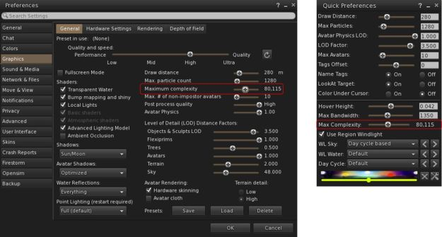 Avatar Complexity can be set using the Max(imum) Complexity slider in either Preferences > Graphics or Quick Preferences