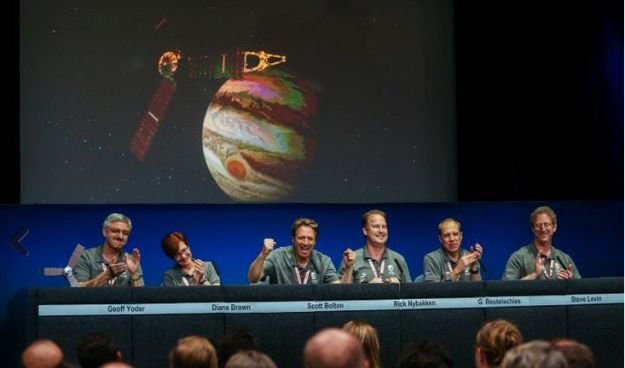 Scott Bolton (with arms raised) celebrates Juno's orbital insertion burn with members of the mission team (l to r) Goeff Yoder, Diane Brown, Rick Nybakken, Guy Beutelschies, and Steve Levin Credit: AP Photo / Ringo H.W. Chiu