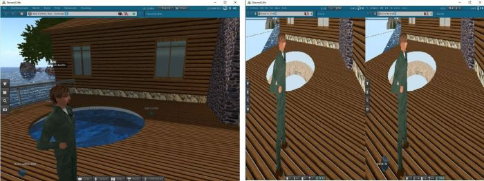 AI Austin illustrates one of the visual issues with the new Oculus Rift projects viewer: one the left, a scene rendered in the viewer when not in HMD mode; on the right, when rendered in HMD - note the washed-out Linden water in particular