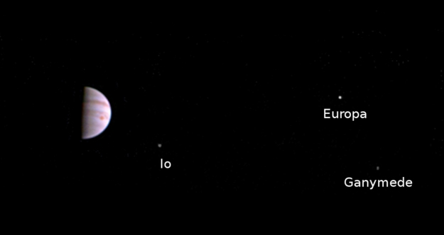 July 14th: Jupiter with Io, Europa and Ganymede as seen by Juno after the craft had finished its critical orbital burn to slip into a 53.5 day orbit around the giant planet