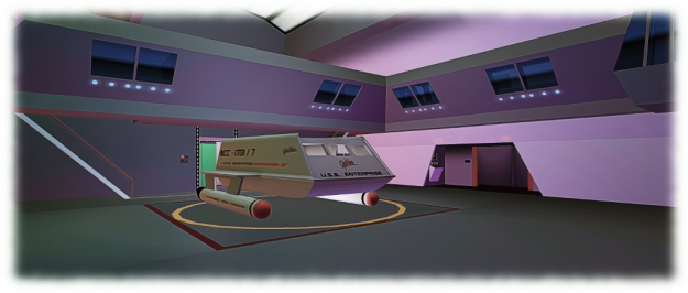 The shuttlecraft bay is awash with detail
