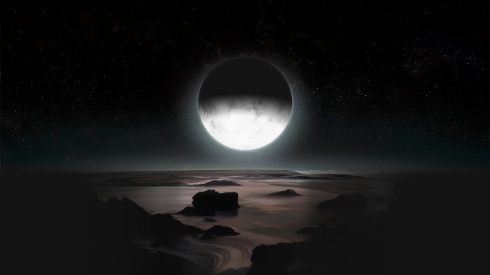 An artist's impression of the Antarctic region of Pluto, a place where the Sun hasn't shone for the last 20 years and will not shine on again for another 80, but above which Charon looms. Credit: NASA