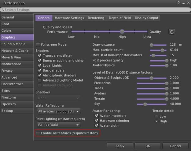 To overcome issues of the viewer failing to recognise very high perfromance GPUs, CtrlAltStudio 1.2.6.43412 includes and Enable All GPU Features option to force enable all graphics settings (e.g. Basic Shaders, etc.)