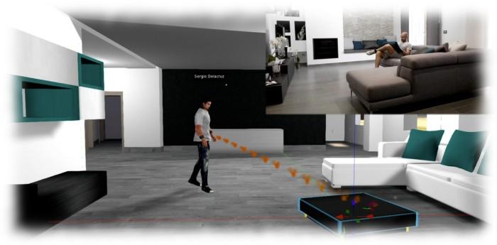 Sergio designing his physical world home in SL - from the comfort of his physical world home, inset). Image courtesy of Draxtor Despres / Sergio Delacruz