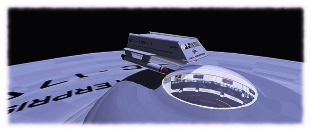 Hovering over the bridge: the shuttlecraft model sits seven, and Ctahy has left the sensor dome over the bridge trnasparent from the outside, so visitors can peek inside, a-la the original pilot episode
