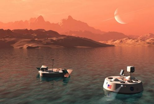 An artist's impressions of the proposed the Titan Lake In-situ Sampling Propelled Explorer (TALISE) mission (l) and NASA's cancelled TiME (Titan Mare Explorer) missions. Credit: bisbos.com