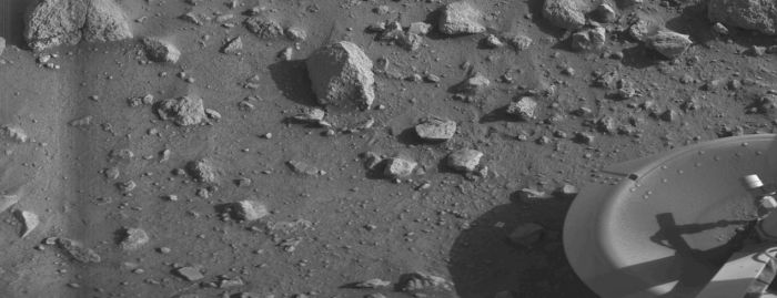 "The first ""clean"" image of the surface of Mars returned by Viking 1 on July 20th, 1976"